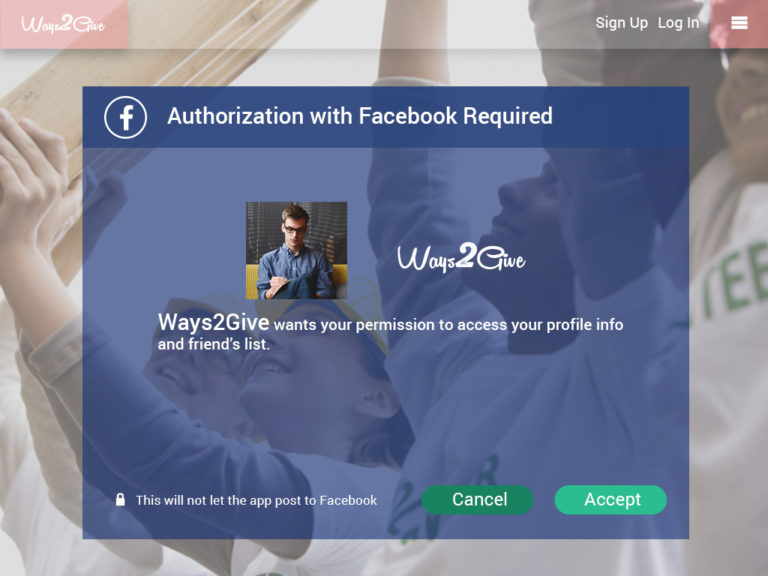 Ways2Give - Auth with FB