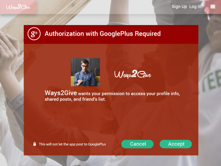 Ways2Give - Auth with Googleplus