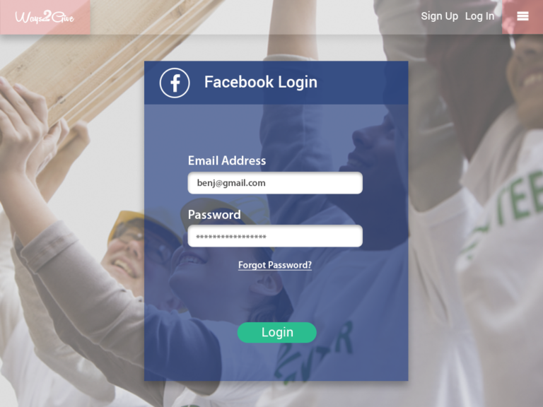 Ways2Give - FB Login