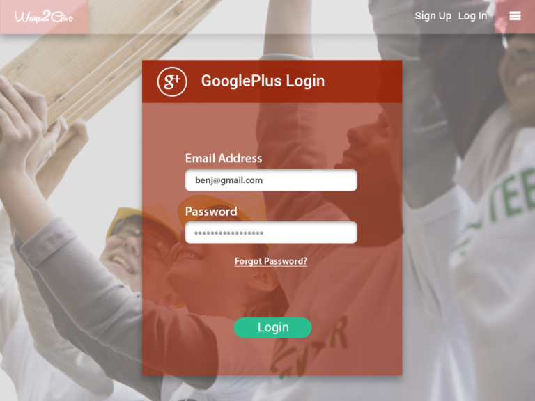 Ways2Give - GooglePlus Login