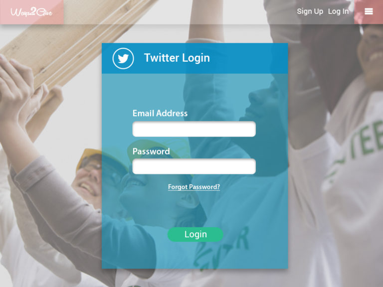 Ways2Give - Twitter Login