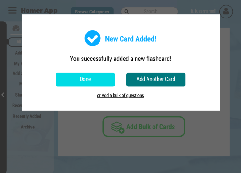 added new card confirmation