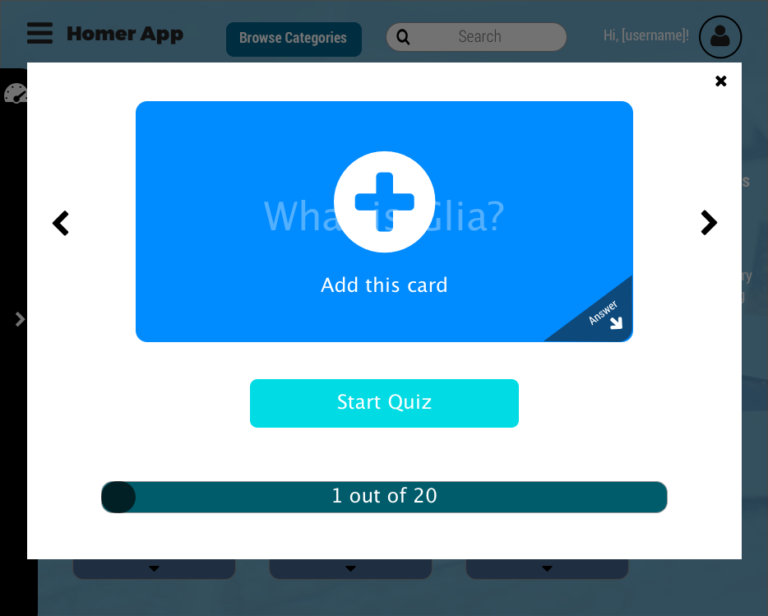 browse categories viewing a deck question hover